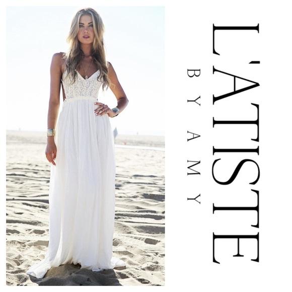 L'ATISTE Dresses & Skirts - L'ATISTE Boho Lace Backless White Maxi Dress (S)